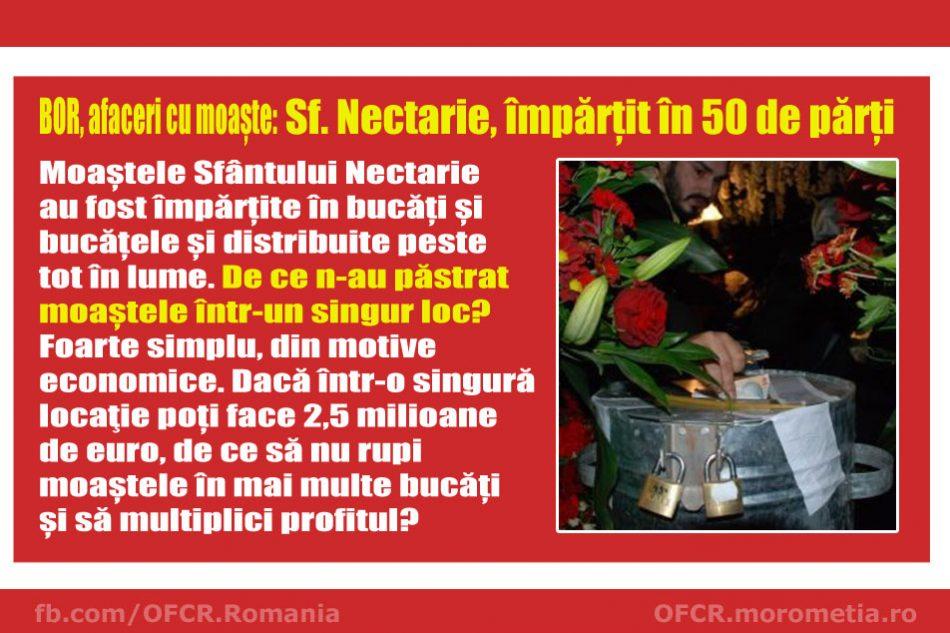 Afaceri cu moaște: Sfântul Nectarie, împărțit în 50 de părți